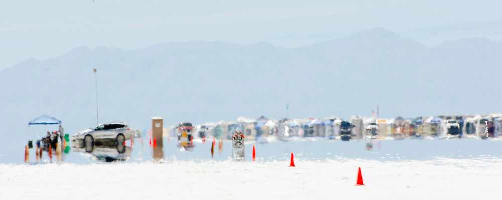 2009 Bonneville Speed Week- Heat waves off the salt surface create a mirage effect at the Bonneville Speedway, August 10,2009. Speed Week is greeted every year with highest temperatures of the summer in western Utah. Course temperatures easily reach over 100 degrees-F. Photo by Colin E. Braley