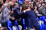Gianmarco Pozzecco, Bruno Perra<br /> Banco di Sardegna Dinamo Sassari - Segafredo Virtus Bologna<br /> Legabasket LBA Serie A 2019-2020<br /> Sassari, 22/12/2019<br /> Foto L.Canu / Ciamillo-Castoria