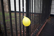 Yellow party balloon attached to railings in London, England, United Kingdom.