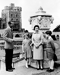 File photo dated 04/06/59 of The Duke of Edinburgh and Queen Elizabeth II with their children, Prince Charles and Princess Anne, at the top of East Terrace garden steps at Windsor Castle in Berkshire. The Duke of Edinburgh has died, Buckingham Palace has announced. Issue date: Friday April 9, 2020.. See PA story DEATH Philip. Photo credit should read: PA Wire