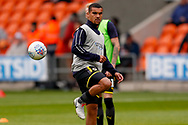 Wimbledon forward Kwesi Appiah (9) warming up  during the EFL Sky Bet League 1 match between Blackpool and AFC Wimbledon at Bloomfield Road, Blackpool, England on 20 October 2018.