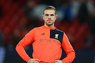 Jordan Henderson of Liverpool warming up prior to kick off. Premier League match, Liverpool v West Ham Utd at the Anfield stadium in Liverpool, Merseyside on Sunday 11th December 2016.<br /> pic by Chris Stading, Andrew Orchard sports photography.