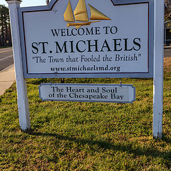 St. Michaels, MD, USA - March 30, 2013: The Welcome to St. Michaels sign in St.Michaels, Maryland.