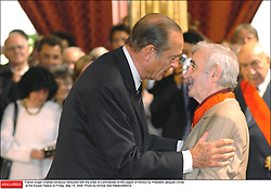 French singer Charles Aznavour honoured with the order of Commander of the Legion of Honour by President Jacques Chirac at the Elysee Palace on Friday, May 14, 2004. Photo by Ammar Abd Rabbo/ABACA.