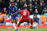 Football - 2018 / 2019 Premier League - Liverpool vs. Chelsea<br /> <br /> Callum Hudson Odoi of Chelsea and Naby Keita of Liverpool, at Anfield.<br /> <br /> COLORSPORT/PAUL GREENWOOD
