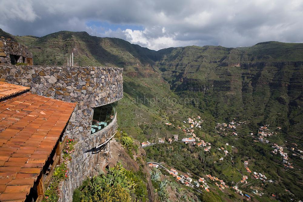 Restaurant Mirador del Palmerejeo, Valle Gran Rey, La Gomera, Canary Islands. Designed by architect César Manrique.
