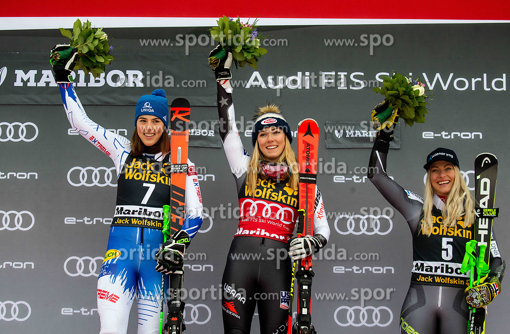 First placed VLHOVA Petra of Slovakia and SHIFFRIN Mikaela of United States with Third placed MOWINCKEL Ragnhild of Norway celebrate during Flower cermony after the 6th Ladies'  GiantSlalom at 55th Golden Fox - Maribor of Audi FIS Ski World Cup 2018/19, on February 1, 2019 in Pohorje, Maribor, Slovenia. Photo by Vid Ponikvar / Sportida