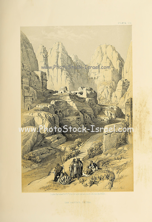 The Ravine, Petra, Jordan from The Holy Land: Syria, Idumea, Arabia, Egypt & Nubia by Roberts, David, (1796-1864) Engraved by Louis Haghe. Volume 3. Book Published in 1855 by D. Appleton & Co., 346 & 348 Broadway in New York.