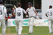 50! Gary Ballance of Yorkshire celebrates his half century during the Specsavers County Champ Div 1 match between Yorkshire County Cricket Club and Warwickshire County Cricket Club at York Cricket Club, York, United Kingdom on 17 June 2019.