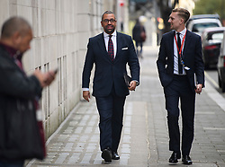 © Licensed to London News Pictures. 20/02/2019. London, UK. Conservative MP JAMES CLEVERLY (centre) is seen in Westminster, London following a Radio interview. 8 Labour MPs and 3 Conservative MP's have resigned form their respective parties to Join the newly formed Independent Group. Photo credit: Ben Cawthra/LNP
