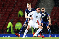 Scotland midfielder Scott McTominay (17) (Manchester United) and Tomer Hemed (10) (Queens Park Rangers)of Israel during the UEFA Nations League match between Scotland and Israel at Hampden Park, Glasgow, United Kingdom on 20 November 2018.