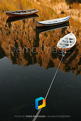 Boats on a lake in Lofoten, Norway during sunset.