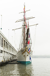 May 5, 2017 - New York, United States - Juan Sebastian de Elcano a training ship for the Royal Spanish Navy docked at pier 90 in Manhattan while on visit in New York (Credit Image: © Lev Radin/Pacific Press via ZUMA Wire)