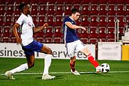 Lewis Morgan Scotland U21s (Celtic FC) gets beyond Aaron Wan-Bissaka England U21s (Crystal Palace) and delivers a cross  during the U21 UEFA EUROPEAN CHAMPIONSHIPS match Scotland vs England at Tynecastle Stadium, Edinburgh, Scotland, Tuesday 16 October 2018.