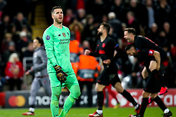 Adrian of Liverpool cuts a dejected figure after conceding a goal to Marcos Llorente of Atletico Madrid - Mandatory by-line: Robbie Stephenson/JMP - 11/03/2020 - FOOTBALL - Anfield - Liverpool, England - Liverpool v Atletico Madrid - UEFA Champions League Round of 16, 2nd Leg
