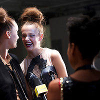 Models are interviewed after completing a rehearsal for the Bora Aksu spring 2011 collection at the On/Off venue in Bloomsbury Square, London on 17 September 2010.