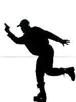 An afro American police man running with a handgun on white isolated background