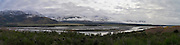Panoramic view of the Hope River, Canterbury, New Zealand, taken from Highway 7 on the way to Lewis Pass; June 2012