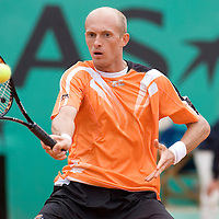 08 June 2007: Russian player Nikolay Davydenko hits a forehand shot to Swiss player Roger Federer during the French Tennis Open semi final won 7-5, 7-6(5), 7-6(7), by Roger Federer over Nikolay Davydenko on day 13 at Roland Garros, in Paris, France.