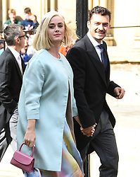Katy Perry and Orlando Bloom arriving at the wedding of Ellie Goulding and Casper Jopling, York Minster. Photo credit should read: Doug Peters/EMPICS