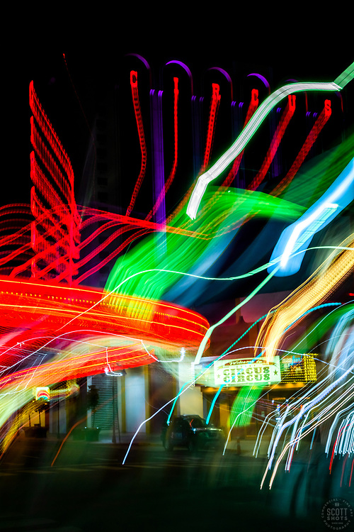 """""""Reno Lights 5"""" - The Grand Sierra Resort photographed in Reno, Nevada. The abstract effect was obtained in camera by long exposure mixed with intentional camera movement."""
