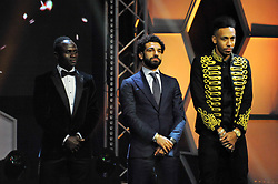 ACCRA, Jan. 5, 2018  Mohamed Salah (C) of Egypt, Sadio Mane (L) of Senegal and Pierre-Emerick Aubameyang of Gabon attend the Confederation of African Football awards ceremony in Accra, Ghana, Jan. 4, 2018. Salah received the African Player of the Year award. (Credit Image: © Shi Song/Xinhua via ZUMA Wire)