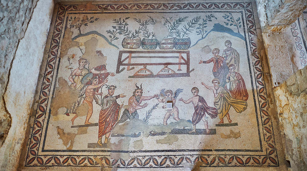 Wide picture of the Roman mosaics of the Vestibule of Eros & Pan, room no 43  at the Villa Romana del Casale, first quarter of the 4th century AD. Sicily, Italy. A UNESCO World Heritage Site.<br /> <br /> The Vestibule of Eros and Pan Roman floor mosaic at the Villa Romana del Casale depicts a scene that is intended to show how difficult it is for someone like Pan , who is ugly but has a good heart, to conquer love, represented by Eros. Between the two divinities are a palm leaf and a coin symbolising the prizes to be awarded to the winner of the contest. .<br /> <br /> If you prefer to buy from our ALAMY PHOTO LIBRARY  Collection visit : https://www.alamy.com/portfolio/paul-williams-funkystock/villaromanadelcasale.html<br /> Visit our ROMAN MOSAICS PHOTO COLLECTIONS for more photos to buy as buy as wall art prints https://funkystock.photoshelter.com/gallery/Roman-Mosaics-Roman-Mosaic-Pictures-Photos-and-Images-Fotos/G00008dLtP71H_yc/C0000q_tZnliJD08