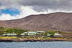 Four Seasons Resort at Manele Bay, Hulopoe Bay, South Lanai, Lanai aka Pineapple Island because of its past as an island-wide pineapple plantation of Dole, the sixth-largest island of the Hawaiian Islands, Hawaii, USA, Pacific Ocean