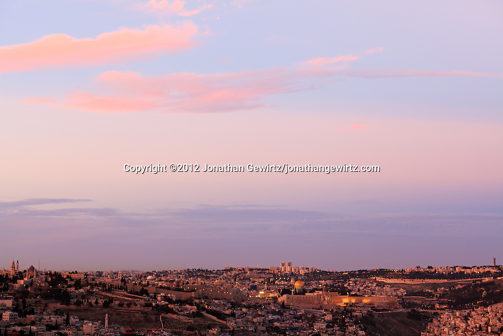 Twilight view from the South of Jerusalem's old and new cities. WATERMARKS WILL NOT APPEAR ON PRINTS OR LICENSED IMAGES.