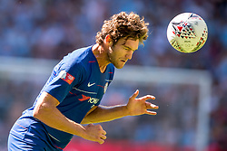 August 5, 2018 - Marcos Alonso of Chelsea heads the ball during the 2018 FA Community Shield match between Chelsea and Manchester City at Wembley Stadium, London, England on 5 August 2018. (Credit Image: © AFP7 via ZUMA Wire)