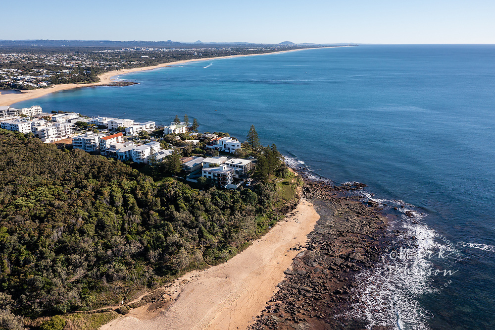 Aerial view of beautiful Shelly Beach & Moffat Head, Caloundra, Sunshine Coast, Queensland, Australia