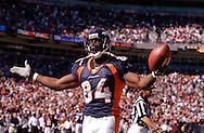 Denver Broncos' Shannon Sharpe at a game at Invesco Field at Mile High in Denver, CO.
