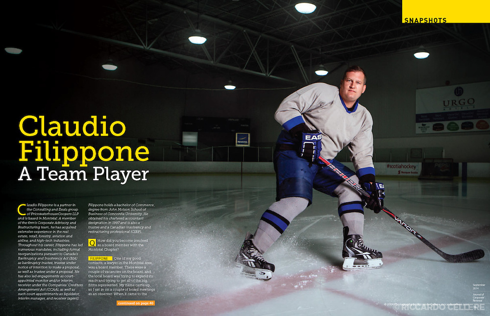 Portrait photography. Man playing hockey. 2014.