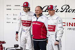 February 18, 2019 - Barcelona, Barcelona, Spain - Frederic Vasseur Team Chief of Alfa Romeo Racing with his dirivers Kimi Raikkonen from Finland with 07 Alfa Romeo Racing and Antonio Giovinazzi from Italy with 99 Alfa Romeo Racing portrait during the Formula 1 2019 Pre-Season Tests at Circuit de Barcelona - Catalunya in Montmelo, Spain on February 18. (Credit Image: © Xavier Bonilla/NurPhoto via ZUMA Press)