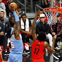 18 March 2018: LA Clippers forward Montrezl Harrell (5) goes for the dunk over Portland Trail Blazers forward Ed Davis (17) during the Portland Trail Blazers 122109 victory over the LA Clippers, at the Staples Center, Los Angeles, California, USA.