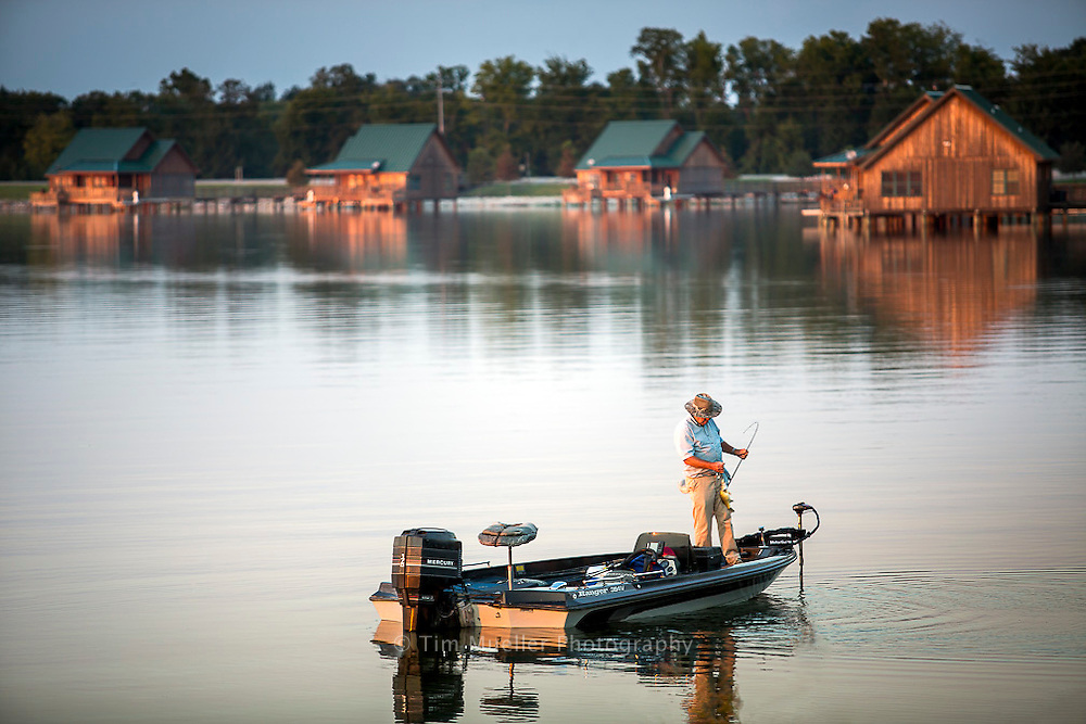 Wiliam Perry of Delhi, La. casts along the shore of the 2,700-acre lake at Poverty Point Reservoir State Park.