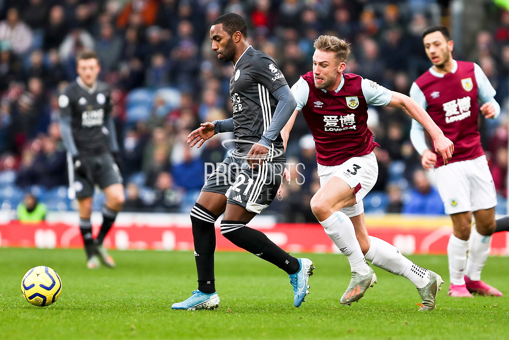 Leicester City defender Ricardo Pereira challenged by Burnley defender Charlie Taylor  during the Premier League match between Burnley and Leicester City at Turf Moor, Burnley, England on 19 January 2020.
