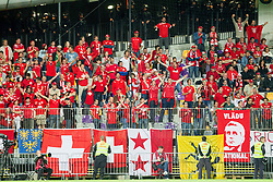 Supporters of Switzerland during football match between National teams of Slovenia and Switzerland at Round 2 of Euro 2016 Qualifications, on October 9, 2014 in Stadium Ljudski vrt, Maribor, Slovenia. Photo by Vid Ponikvar / Sportida.com