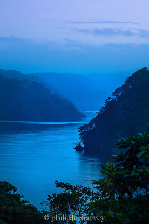 View of the Fjord at sunset from Tufi resort, Tufi, Cape Nelson, Oro Province, Papua New Guinea
