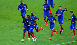PARIS, FRANCE - Sunday, July 3, 2016: France's Paul Pogba [15] celebrates scoring the second goal against Iceland during the UEFA Euro 2016 Championship Semi-Final match at the Stade de France. (Pic by Paul Greenwood/Propaganda)