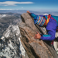 Mountaineer Mike Rufer climbs on Mount Gayley in the Palisades region of California's Sierra Nevada.