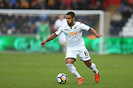 Wayne Routledge of Swansea City in action. Premier league match, Swansea city v Leicester city at the Liberty Stadium in Swansea, South Wales on Saturday 21st October 2017.<br /> pic by  Andrew Orchard, Andrew Orchard sports photography.