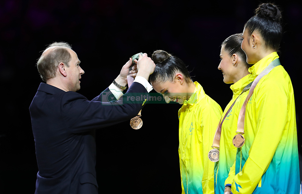 Australia's Alexandra Kiroi-Bogatyreva receives her bronze medal from Prince Edward for Rhythmic Gymnatics Individual All-Around Team at the Coomera Indoor Sports Centre during day seven of the 2018 Commonwealth Games in the Gold Coast, Australia.