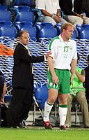 Fotball<br /> VM-kvalifisering<br /> Sveits v Irland<br /> Basel<br /> 8. september 2004<br /> Foto: Digitalsport<br /> NORWAY ONLY<br /> BRIAN KERR (IRELAND COACH) / GARY DOHERTY (IRE)