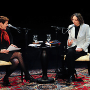 NHPR's Virginia Prescott interviews Author Joyce Carol Oates on stage at The Music Hall' in a Writers on a New England Stage production