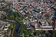 Nederland, Friesland, Leeuwarden, 08-09-2009; toren Oldehove met links Provinciale bibliohee en Rijksarchief, rechts  Stadskantoor in de voorgrond..Overview of the city with the tower Oldehove and Stadskantoot (city hall)  in the foreground.luchtfoto (toeslag); aerial photo (additional fee required); .foto Siebe Swart / photo Siebe Swart