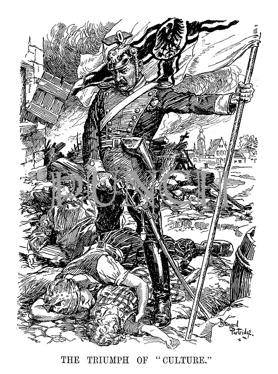 """The Triumph of """"Culture."""" (Kaiser Wilhelm II stands proudly with the Imperial German flag above dead men, women and children in the aftermath of Total War)"""