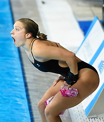 Alicia Blagg (Great Britain) reacts as she see's her marks after completing her final dive in the Women's 3m Springboard Final during day ten of the 2018 European Championships at the Royal Commonwealth Pool, Edinburgh.