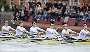 Putney, London, University Boat Race, Cambridge,  left to right, Geoff ROTH, George NASH, Peter McCELLAND, Deaglan McEACHERN, Henry PELLY, Derek RASMUSSEN,  move past the Dove Pier at Hammersmith,during  the 156th Race, on the Championship Course Putney to Hammersmith  Saturday  03/04/2010 [Mandatory Credit Peter Spurrier/ Intersport Images]