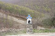 Greece, Macedonia, Antartikon a small farming village. A small roadside shrine